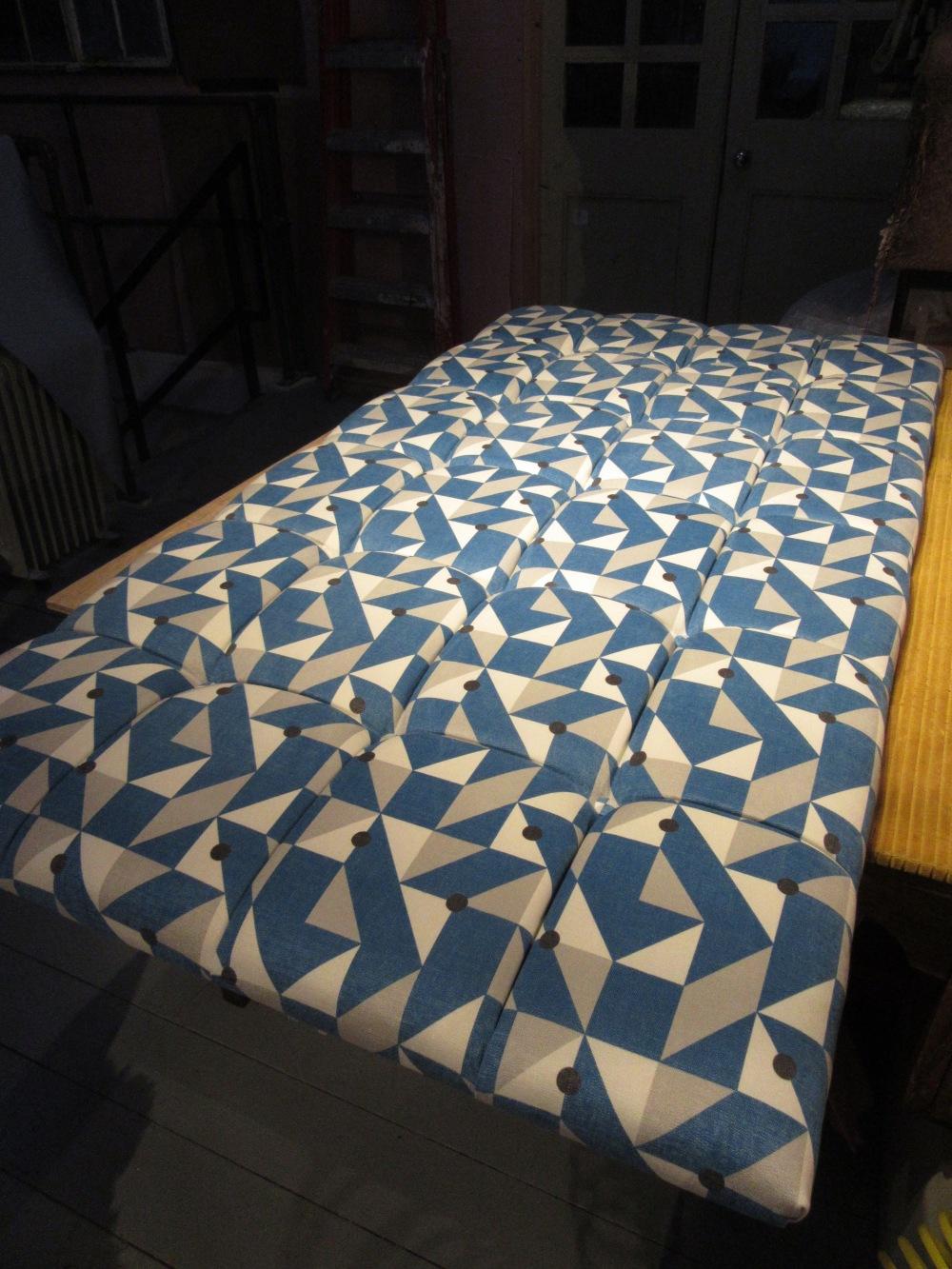 Deep Buttoned Geometric Headboard Fleur Pont Upholstery Bristol